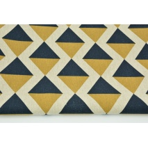 Decorative fabric, navy-mustard diamonds on a linen background 187g/m2