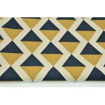 Tkanina dekoracyjna, granatowo-musztardowe romby na lnianym tle 187g/m2