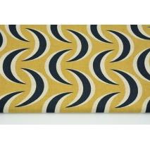 Decorative fabric, navy-mustard diamonds on a linen background 187g/m2