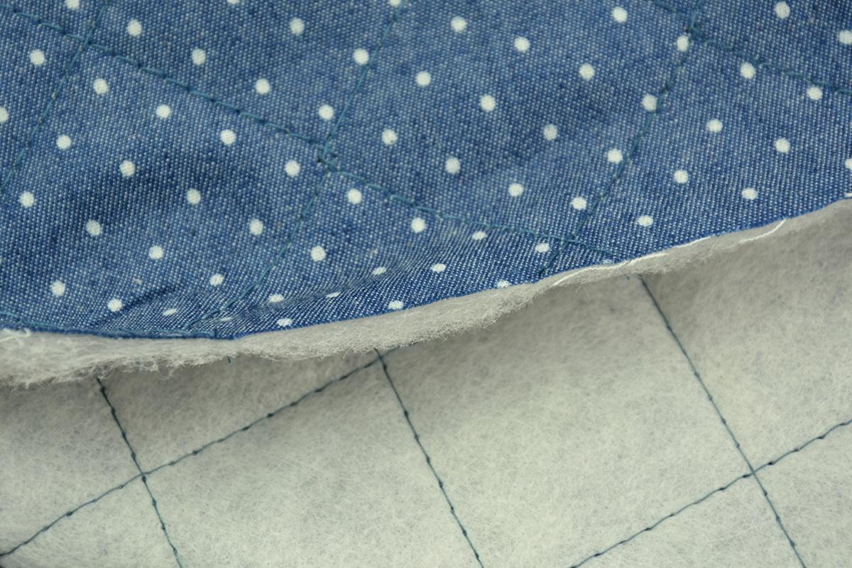 9b79e56b574f9f Jeans pikowany, białe kropki 2mm na ciemnoniebieskim tle