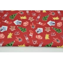Bawełna 100% świąteczne ozdoby na ciemnoczerwonym tle