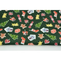 Cotton 100% Christmas decorations on a dark green background