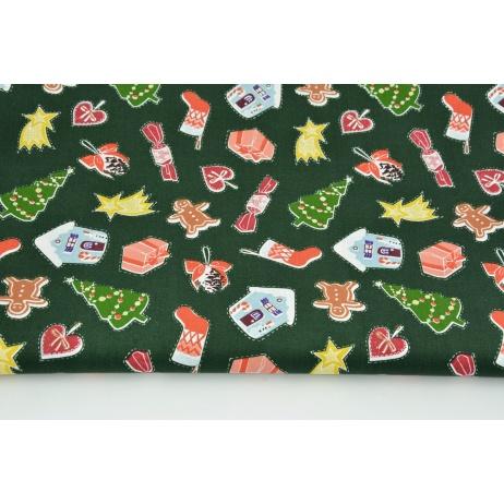 Bawełna 100% świąteczne ozdoby na ciemnozielonym tle