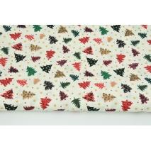 Bawełna 100% małe kolorowe choinki na kremowym tle