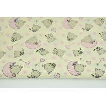 Bawełna 100% małe kotki, różowe gwiazdki na waniliowym tle