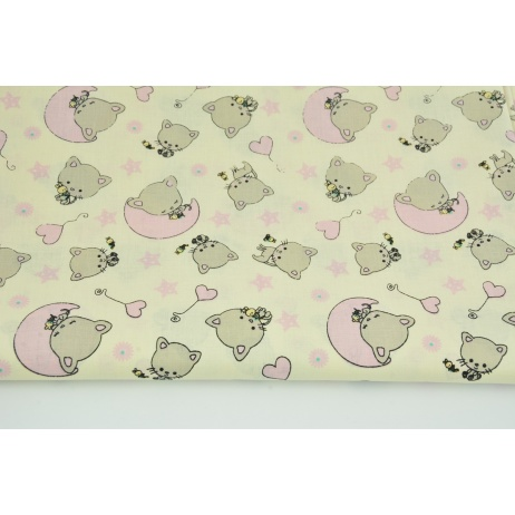 Cotton 100% small kitties, pink stars on a vanilla background