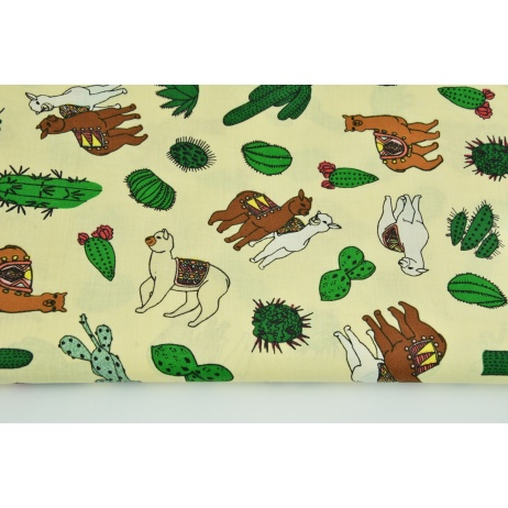 Cotton 100% llamas, cactuses on a light yellow background
