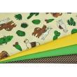Bawełna 100% lamy, kaktusy na jasnożółtym tle