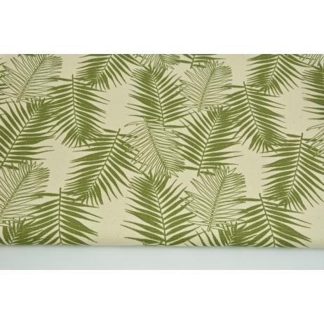 Home Decor, zielone liście palmowe na naturalnym tle 220g/m2