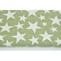 Cotton 100% stars on a green linen background