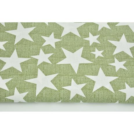 Bawełna 100% gwiazdy na zielonym lnianym tle