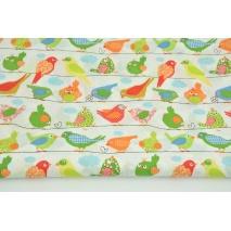 Bawełna 100% kolorowe ptaszki na linach na białym tle