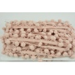 Powder pink ribbon with small pom poms - double thread
