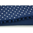 Navy blue ribbon with small pom poms - double thread