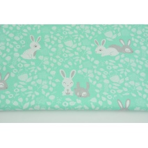 Cotton 100% bunnies in the forest on a mint background