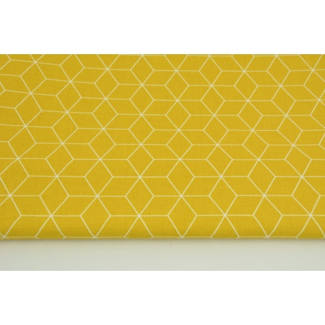 Cotton 100% white cubes on a mustard background