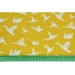 Cotton 100% white origami birds on a mustard background