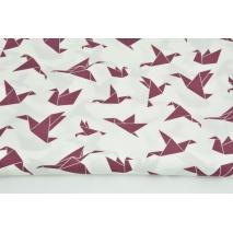 Bawełna 100% ptaszki origami ciemny wrzos na białym tle