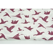 Cotton 100% dark heather origami birds on a white background
