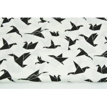 Cotton 100% black origami birds on a white background