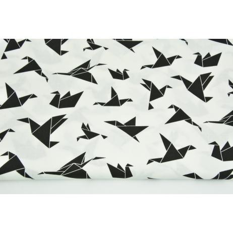 Bawełna 100% ptaszki origami czarne na białym tle