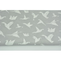 Cotton 100% white origami birds on a light gray background