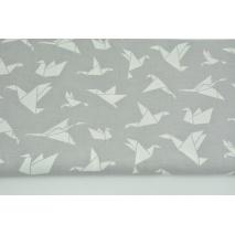 Cotton 100% white origami birds on a light gray background