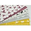 Bawełna 100% ptaszki origami białe na jasnoszarym tle