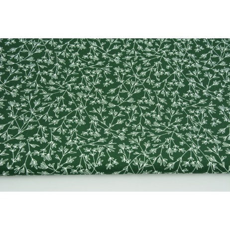 Cotton 100% tiny twigs on a dark green background