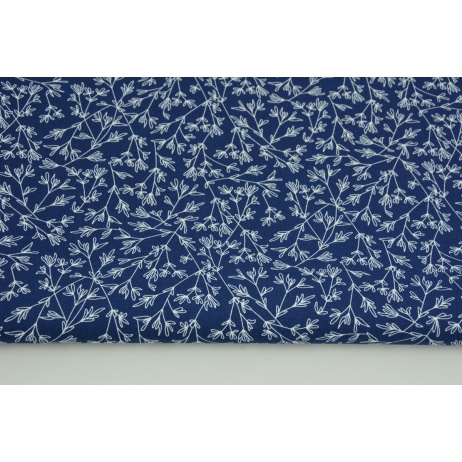 Cotton 100% tiny twigs on a navy background