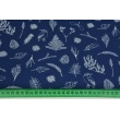 Cotton 100% twigs, leaves, ferns on a navy background