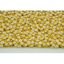 Wiskoza 100% kwiaty wiśni na musztardowym tle