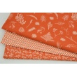Cotton 100% tiny twigs on an orange background