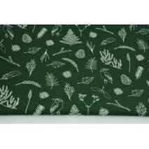 Bawełna 100% gałązki, liście, paprocie na ciemnozielonym tle