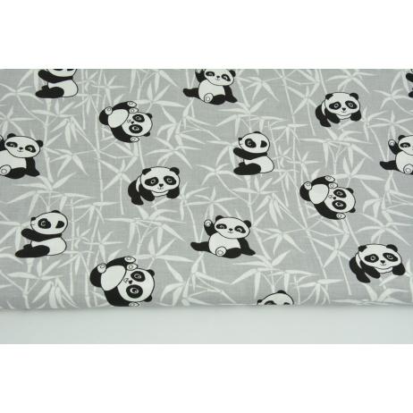 Bawełna 100% pandy na bambusie na szarym tle