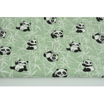 Bawełna 100% pandy na bambusie na zielonym tle
