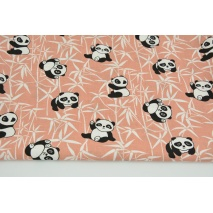 Cotton 100% pandas on a bamboo on a brick red background