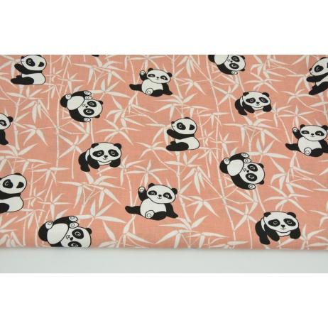 Bawełna 100% pandy na bambusie na ceglastym tle