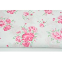 Bawełna 100% różowe kwiaty na białym tle