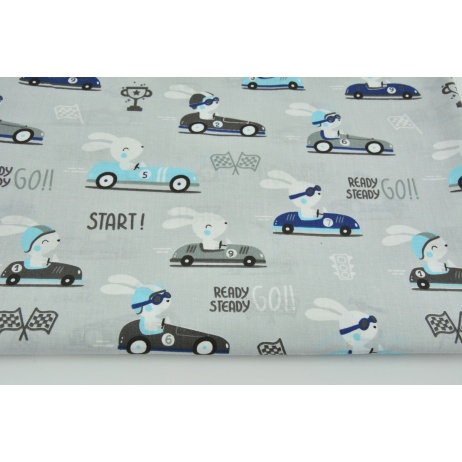 Cotton 100% moto-rabbits on a light gray background (2)