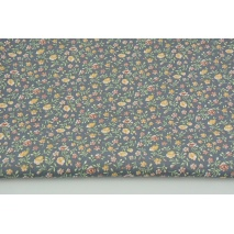 Cotton 100% mustard - tea meadow on a gray background PREMIUM