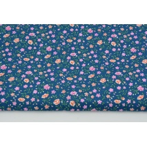 Cotton 100% pink-salmon meadow on a dark blue background PREMIUM