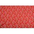 Bawełna 100% żurawie na czerwonym tle PREMIUM