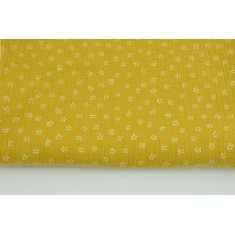 Double gauze 100% cotton white flowers on a mustard background