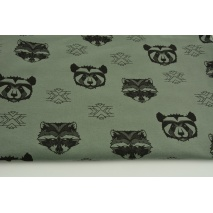 Looped knitwear black raccoons on a khaki background