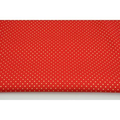 Bawełna 100% złote kropki 2mm na czerwonym tle PREMIUM