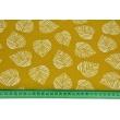 Tkanina dekoracyjna, liście na musztardowym tle 160g/m2