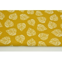 Decorative fabric, leaves on a mustard background 160g/m2