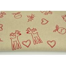 Tkanina dekoracyjna, czerwone renifery, prezenty na lnianym tle 187g/m2