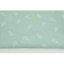 Double gauze 100% cotton white palm leaves on a powder mint background